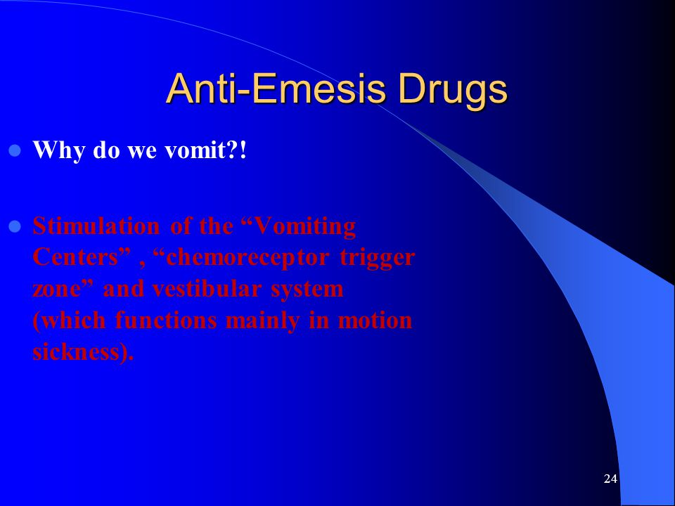 Anti-Emesis Drugs Why do we vomit !
