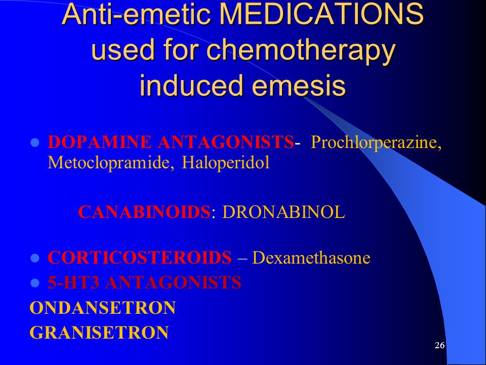 Anti-emetic MEDICATIONS used for chemotherapy induced emesis