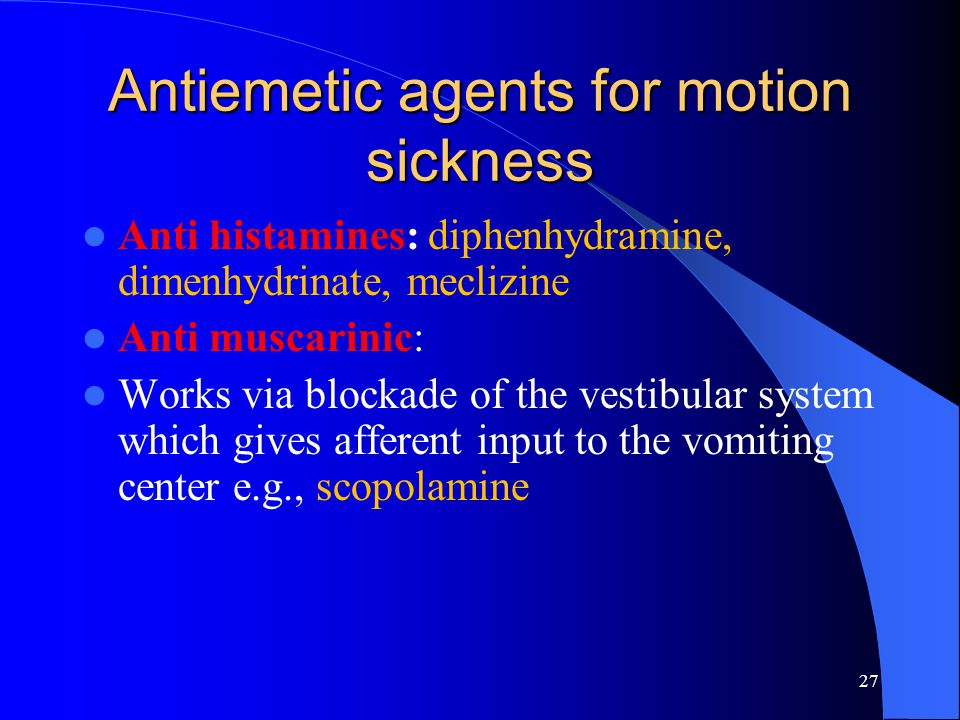 Antiemetic agents for motion sickness