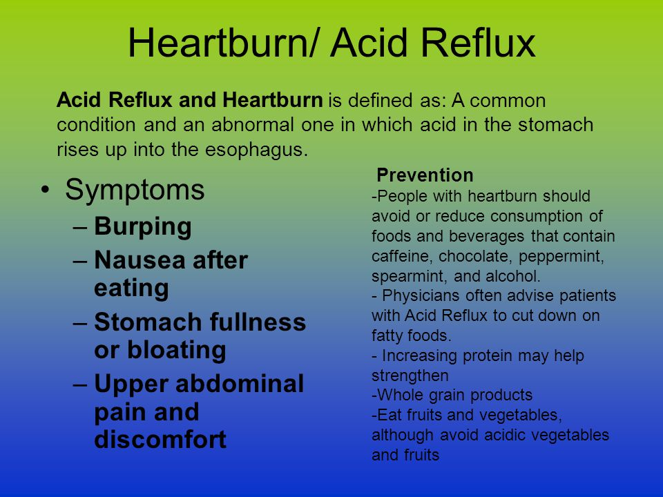 Heartburn/ Acid Reflux