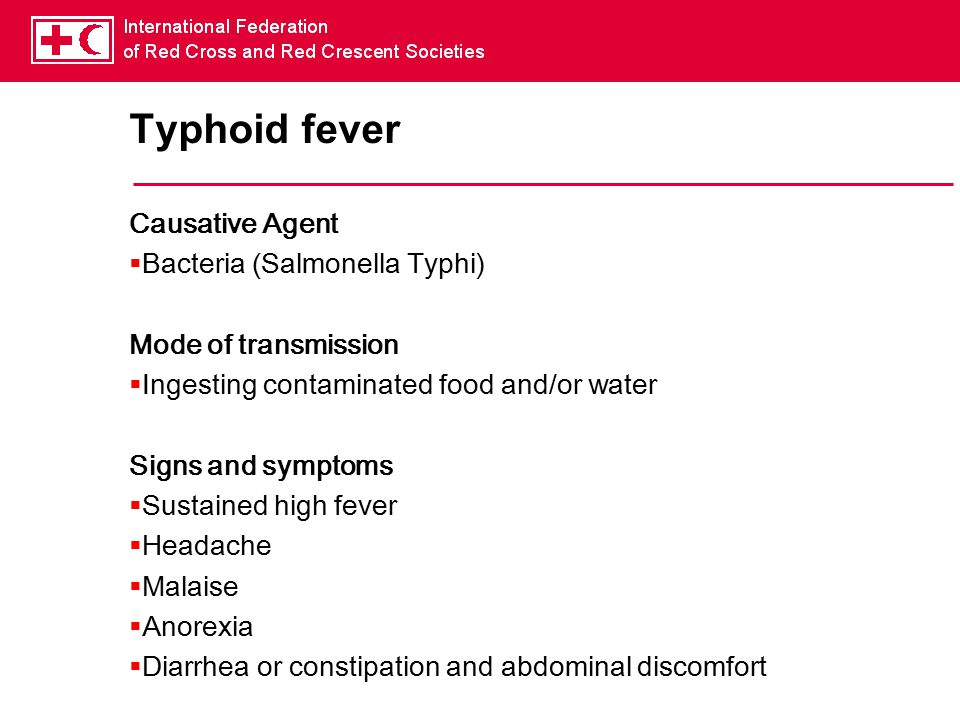 Typhoid fever Causative Agent Bacteria (Salmonella Typhi)