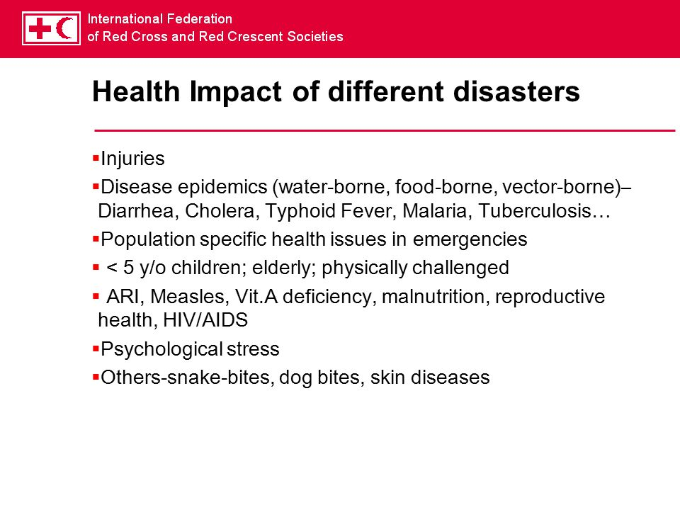 Health Impact of different disasters