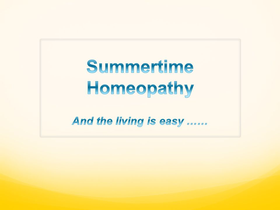 Summertime Homeopathy