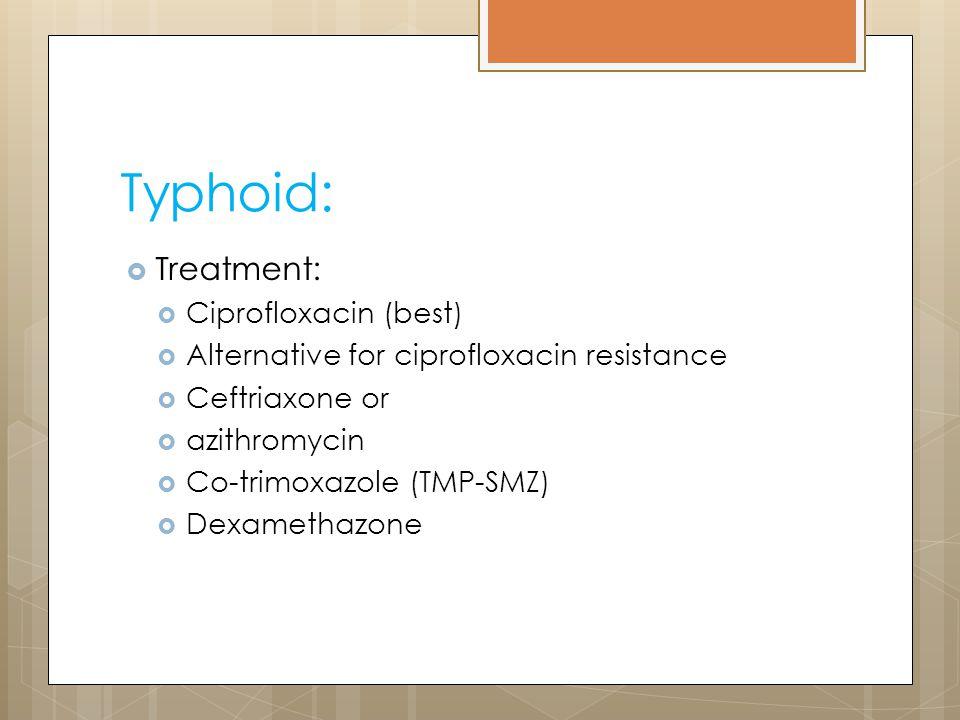 Typhoid: Treatment: Ciprofloxacin (best)