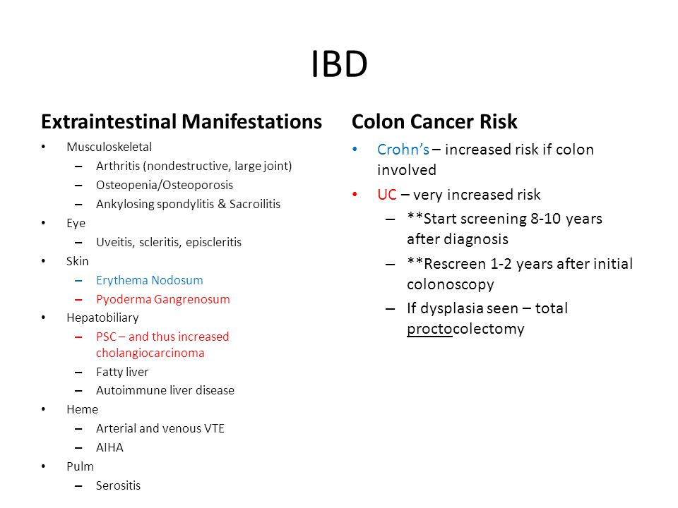 IBD Extraintestinal Manifestations Colon Cancer Risk