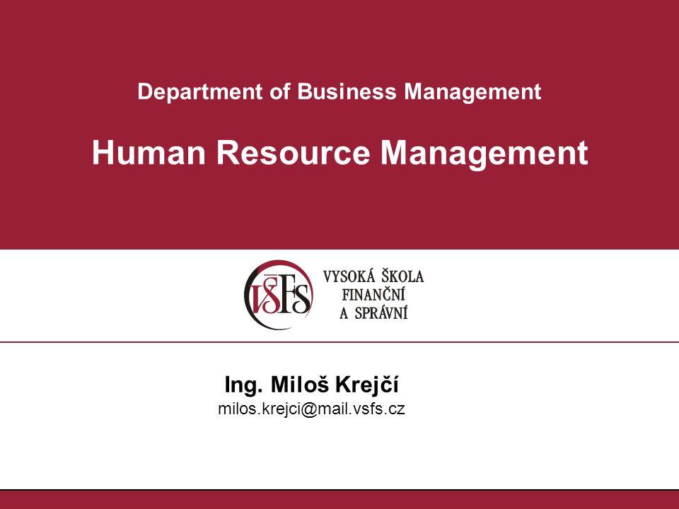 Department of Business Management Human Resource Management