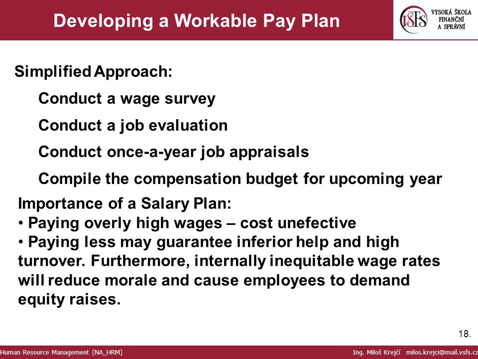 Developing a Workable Pay Plan