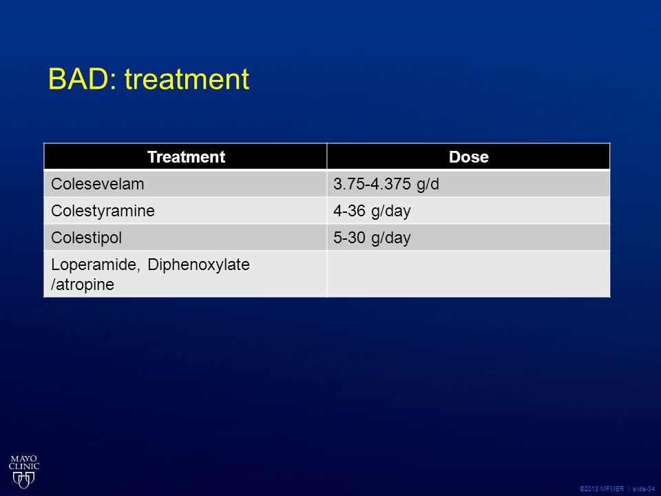 BAD: treatment Treatment Dose Colesevelam 3.75-4.375 g/d Colestyramine