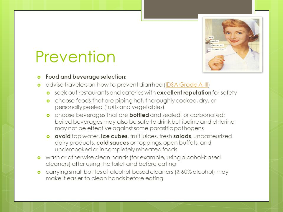 Prevention Food and beverage selection: