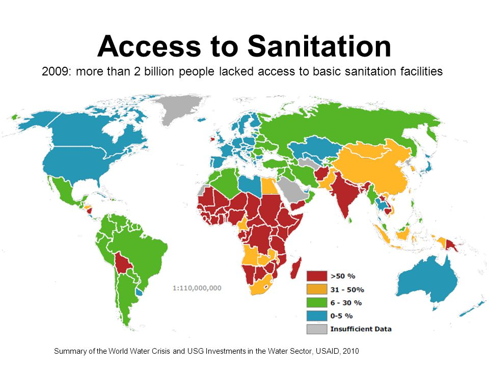 Access to Sanitation 2009: more than 2 billion people lacked access to basic sanitation facilities.