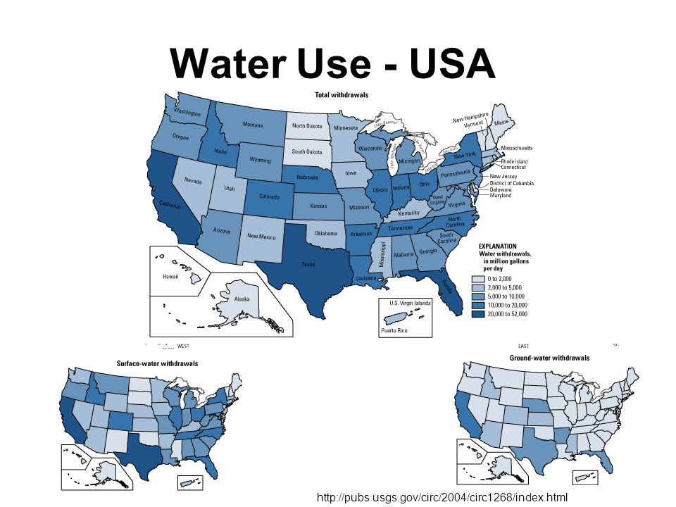 Water Use - USA http://pubs.usgs.gov/circ/2004/circ1268/index.html