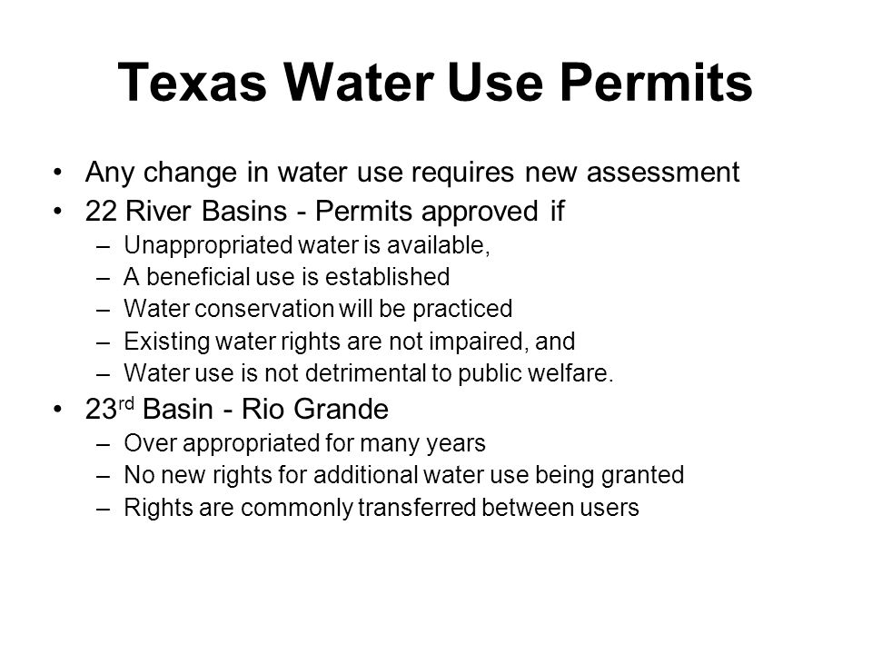Texas Water Use Permits