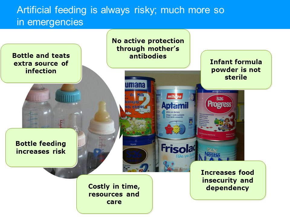 Artificial feeding is always risky; much more so in emergencies