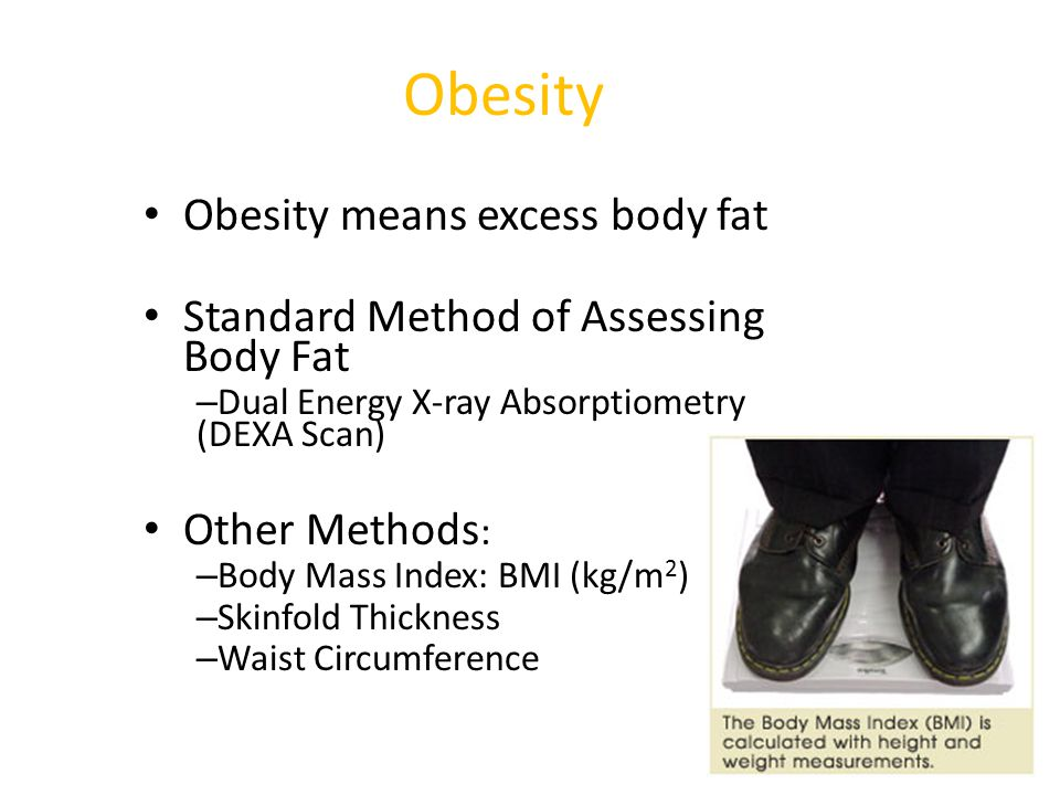 Obesity Obesity means excess body fat