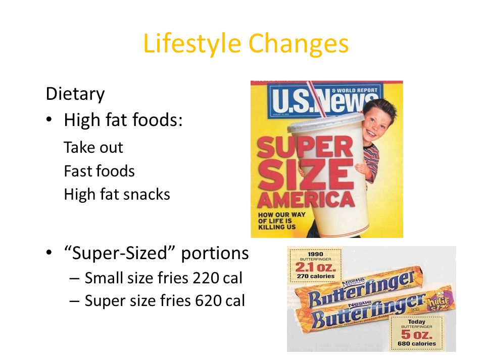 Lifestyle Changes Dietary High fat foods: Take out