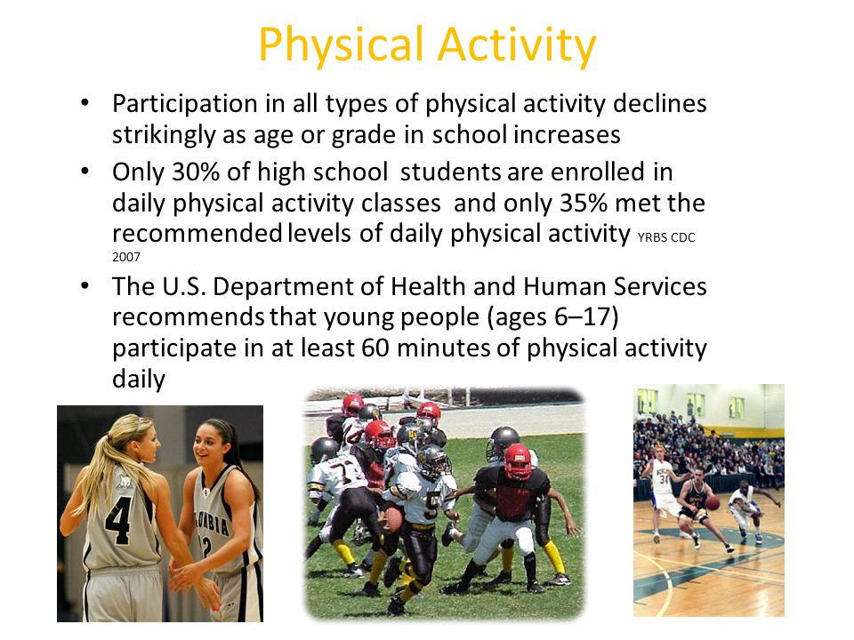 Physical Activity Participation in all types of physical activity declines strikingly as age or grade in school increases.