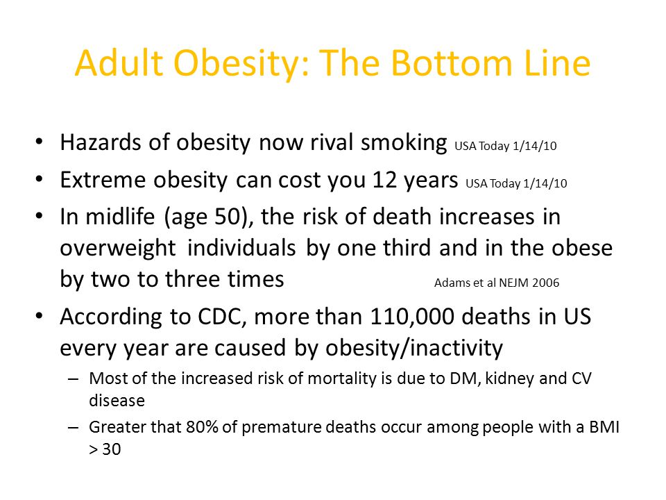 Adult Obesity: The Bottom Line