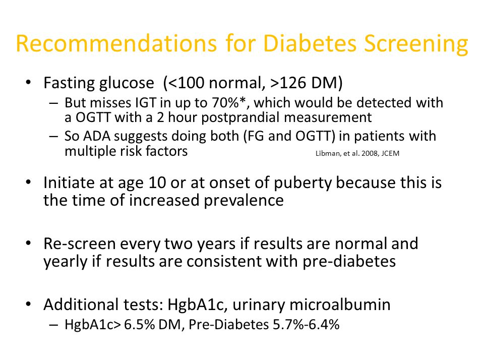 Recommendations for Diabetes Screening