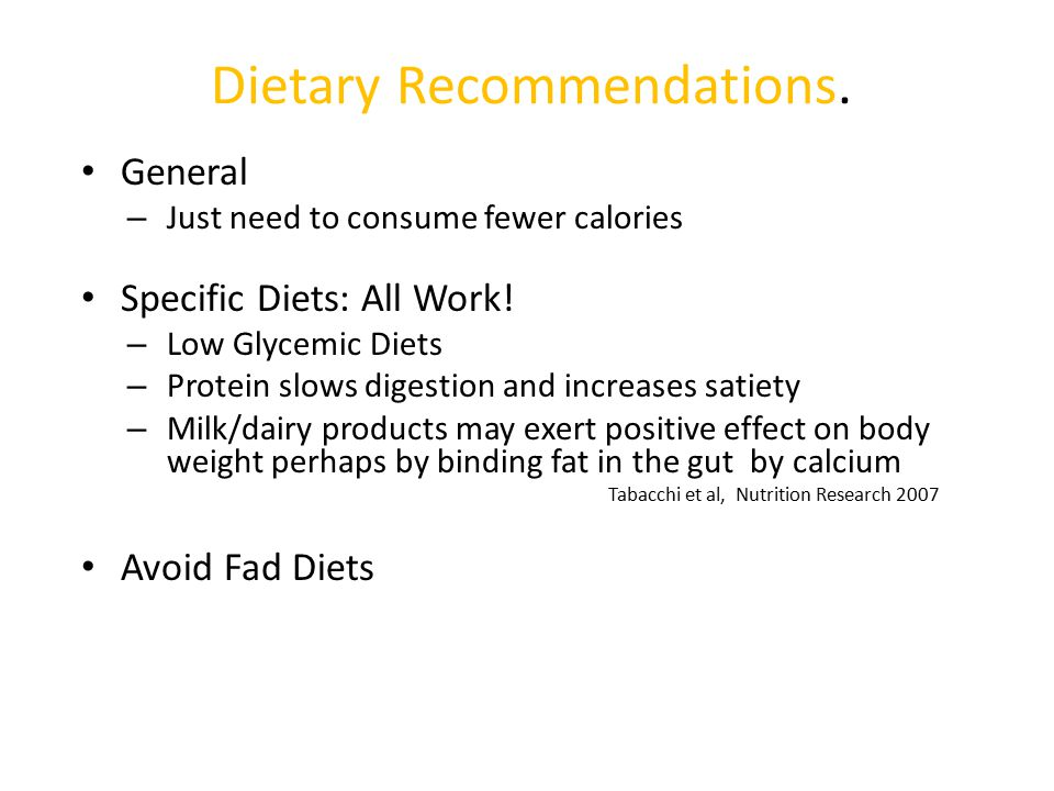 Dietary Recommendations.