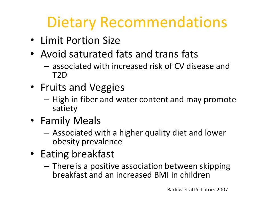 Dietary Recommendations