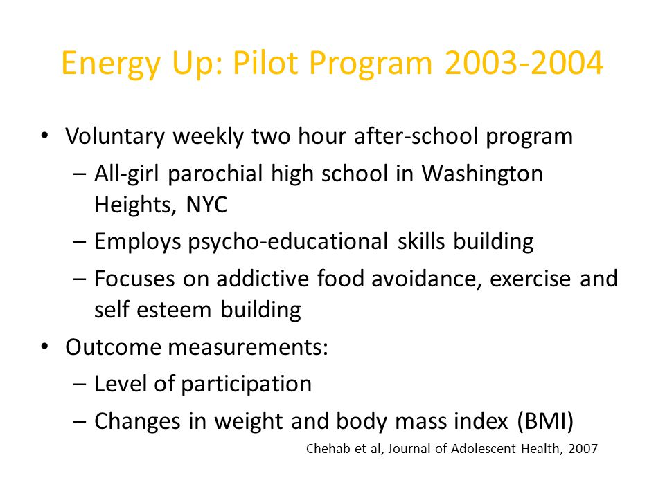 Energy Up: Pilot Program 2003-2004