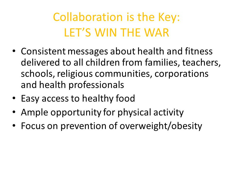 Collaboration is the Key: LET'S WIN THE WAR