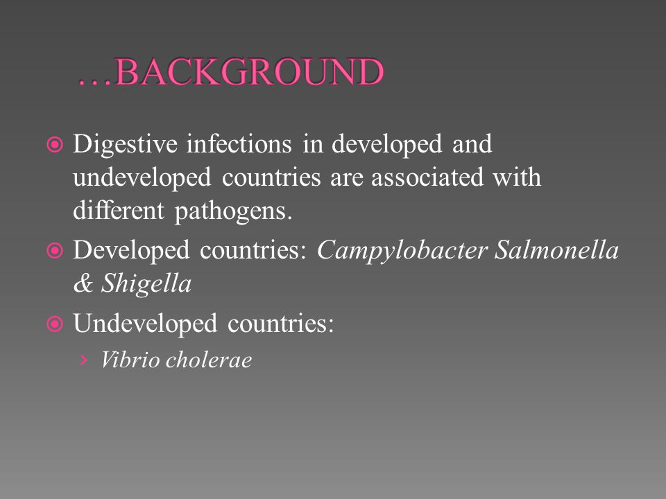 …BACKGROUND Digestive infections in developed and undeveloped countries are associated with different pathogens.