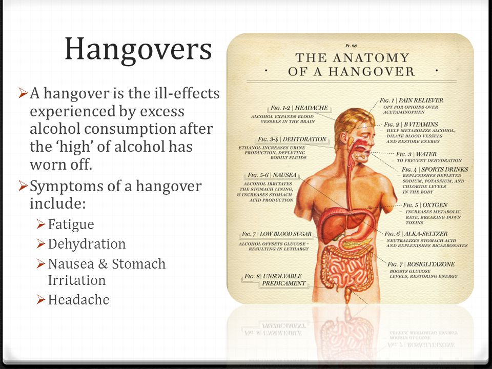 Hangovers A hangover is the ill-effects experienced by excess alcohol consumption after the 'high' of alcohol has worn off.