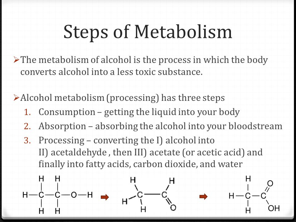 Steps of Metabolism The metabolism of alcohol is the process in which the body converts alcohol into a less toxic substance.