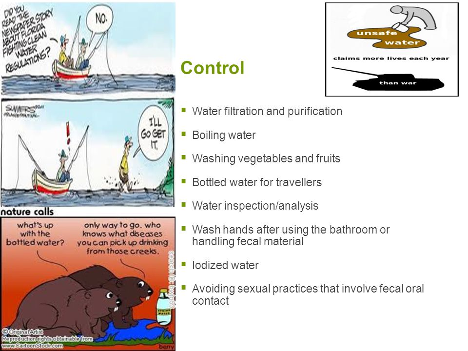Control Water filtration and purification Boiling water