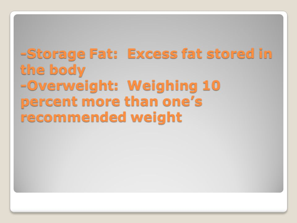 -Storage Fat: Excess fat stored in the body -Overweight: Weighing 10 percent more than one's recommended weight