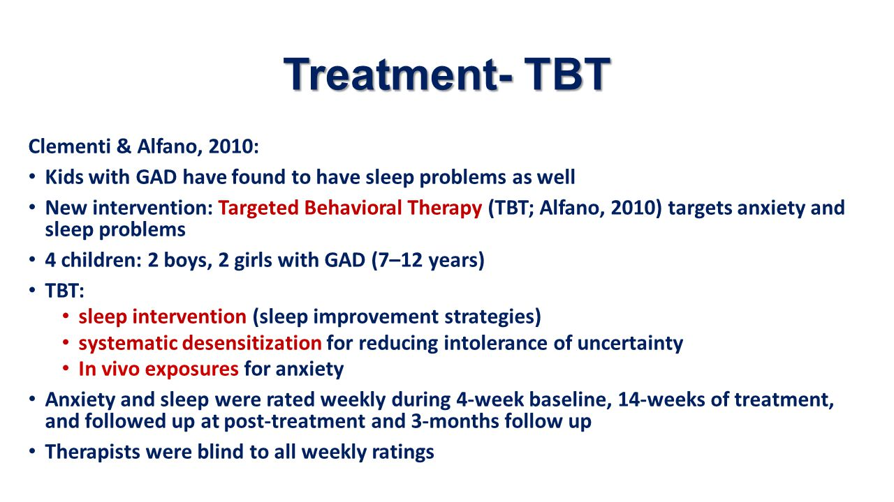 Treatment- TBT Clementi & Alfano, 2010: