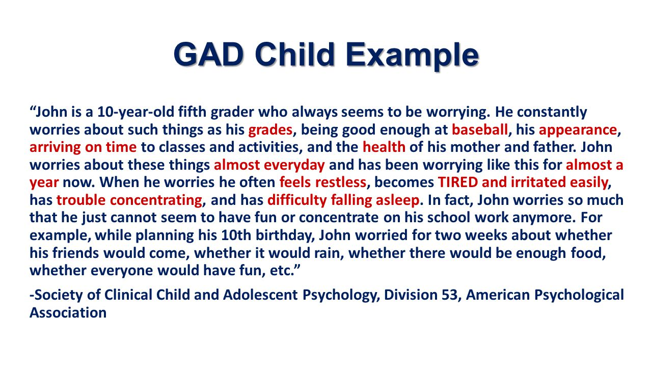 GAD Child Example