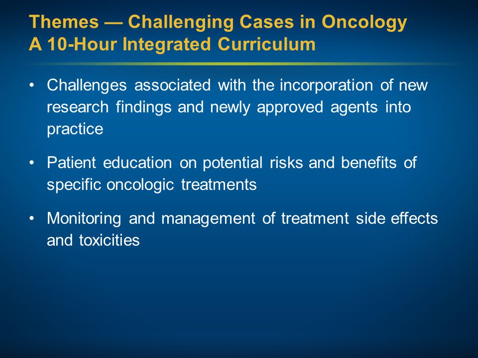 Themes — Challenging Cases in Oncology A 10-Hour Integrated Curriculum