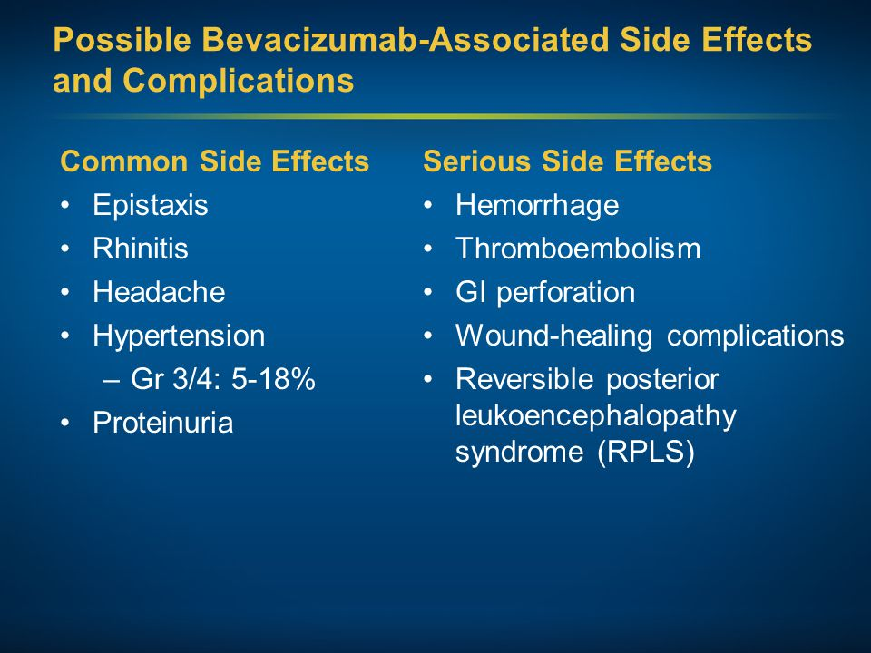 Possible Bevacizumab-Associated Side Effects and Complications