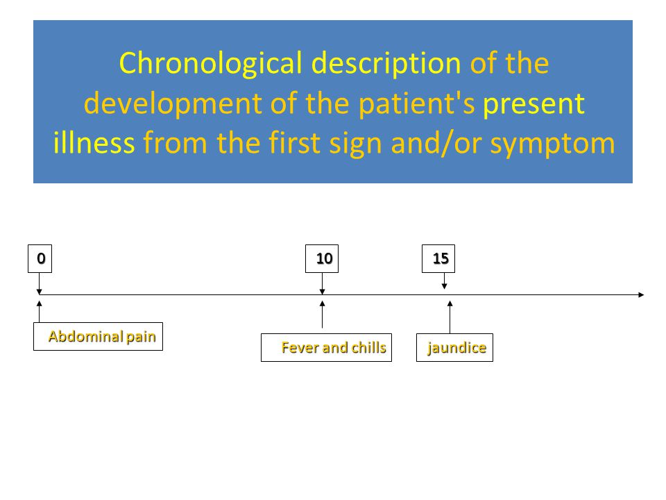Chronological description of the development of the patient s present illness from the first sign and/or symptom