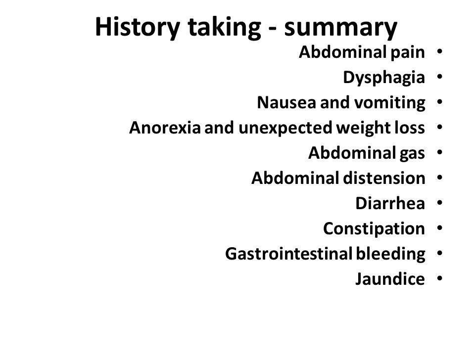 History taking - summary