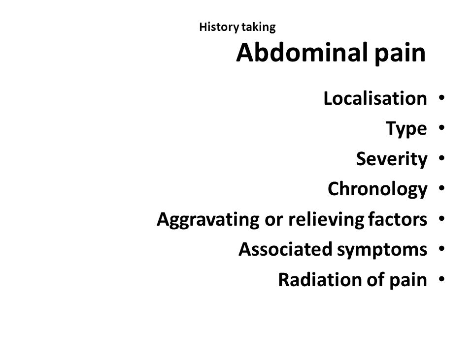 History taking Abdominal pain
