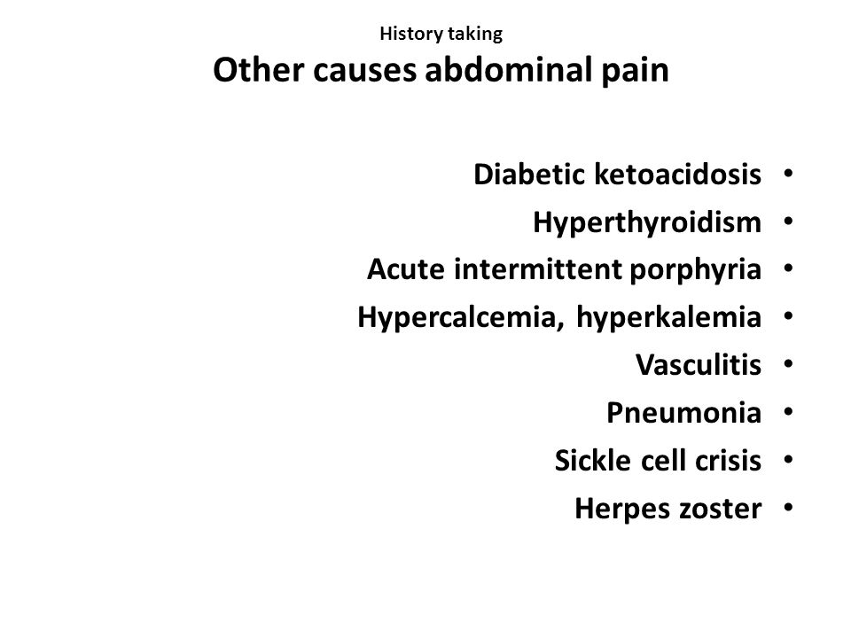 History taking Other causes abdominal pain