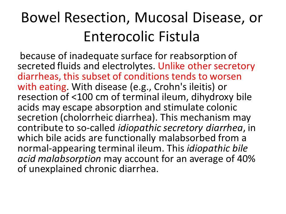 Bowel Resection, Mucosal Disease, or Enterocolic Fistula