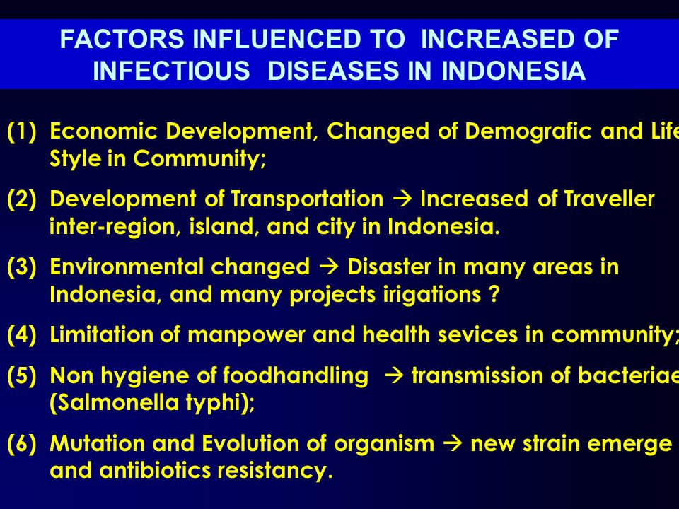 FACTORS INFLUENCED TO INCREASED OF INFECTIOUS DISEASES IN INDONESIA