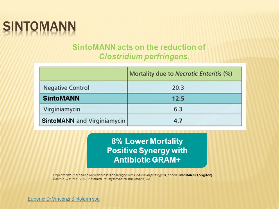 SintoMANN SintoMANN acts on the reduction of Clostridium perfringens.