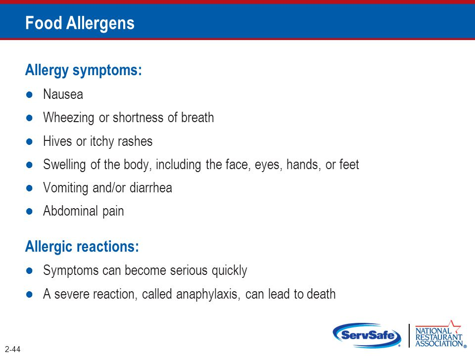 Food Allergens Allergy symptoms: Allergic reactions: Nausea