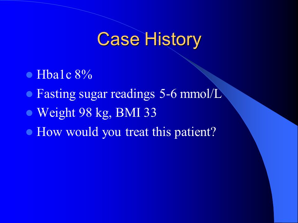 Case History Hba1c 8% Fasting sugar readings 5-6 mmol/L