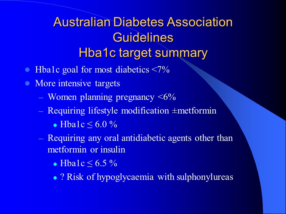 Australian Diabetes Association Guidelines Hba1c target summary