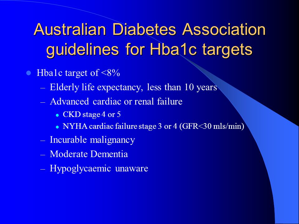 Australian Diabetes Association guidelines for Hba1c targets