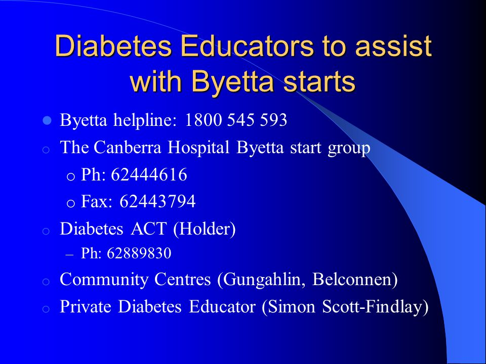 Diabetes Educators to assist with Byetta starts