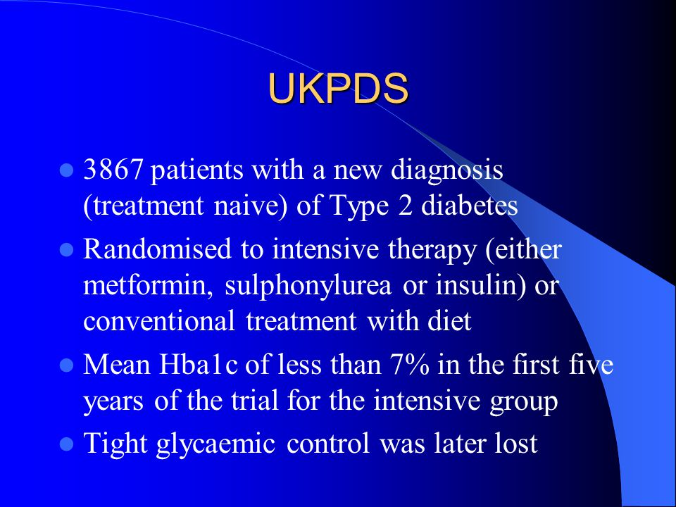 UKPDS 3867 patients with a new diagnosis (treatment naive) of Type 2 diabetes.