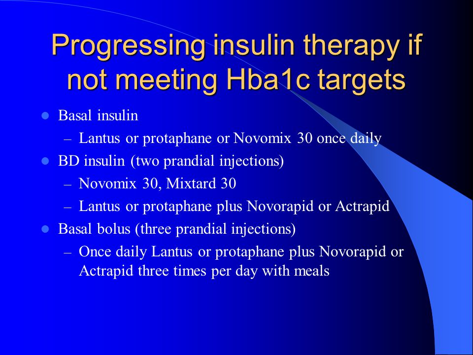 Progressing insulin therapy if not meeting Hba1c targets