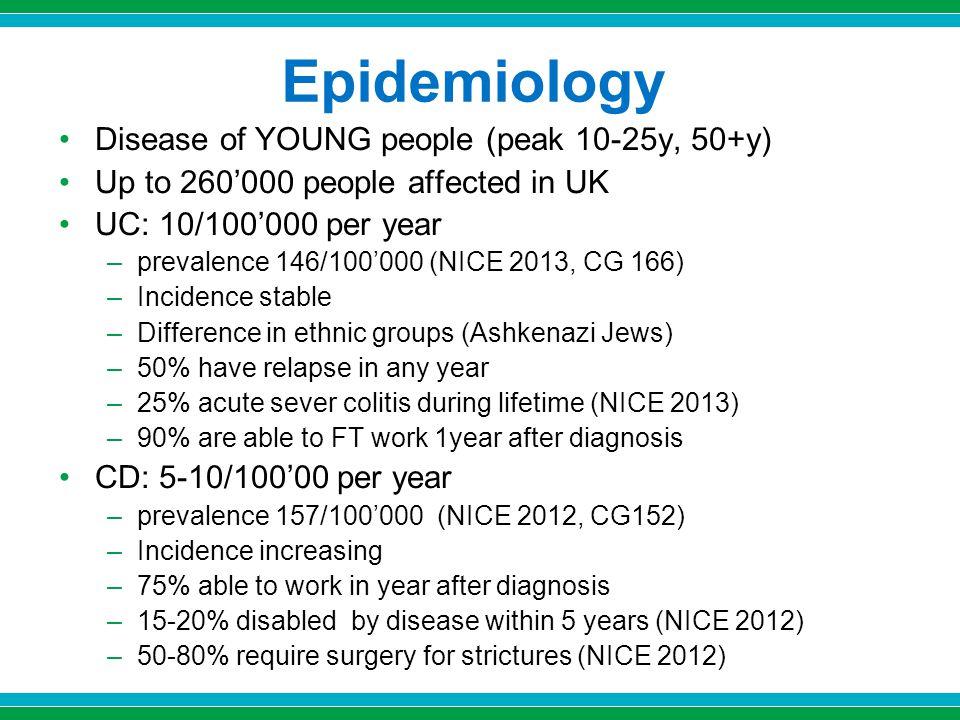 Epidemiology Disease of YOUNG people (peak 10-25y, 50+y)